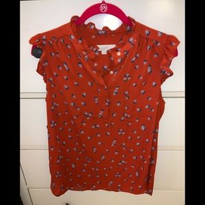 Red floral Loft top small EUC